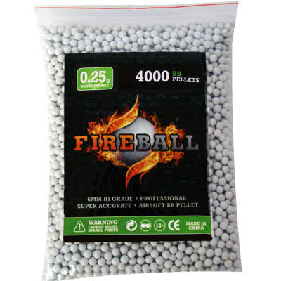 4000 x 6mm 0.25g BB Polished White Polished high grade FireBall Performance Airsoft Pellets Biodegradable 0.25g 4000 bag