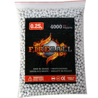 0.25g FireBall 6mm Airsoft BB's White Polished high grade Performance Pellets bag of 4,000