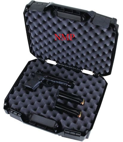 Flambeau Hard Double Deep Pistol Case Large 15.25 inch x 11.5 inch x 4.8 inch Black with flip up latches lockable and full egg shell foam (FO1511DDP)