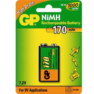 GP 9v RECHARGEABLE 170 MAH BATTERIE