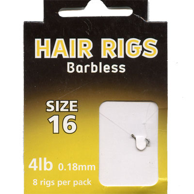 HAIR RIGS BARBLESS SIZE 16 TO 4lb line PACK of 8 rigs per pack