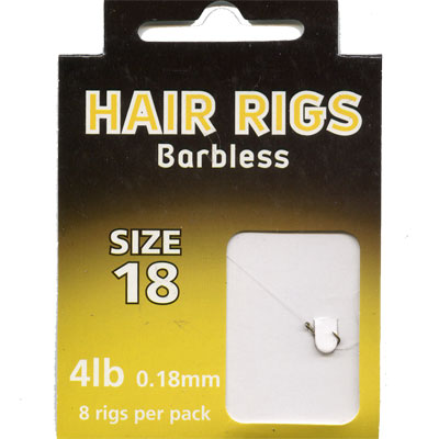 HAIR RIGS BARBLESS SIZE 18 TO 4lb line PACK of 8 rigs per pack