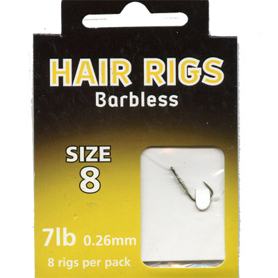 HAIR RIGS BARBLESS SIZE  8 TO 7lb line PACK of 8 rigs per pack