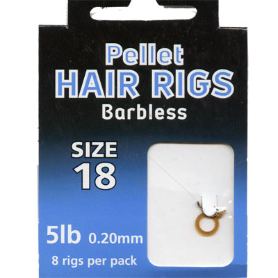 HAIR RIGS PELLET BARBLESS SIZE 18 TO 5lb line PACK of 8 rigs per pack