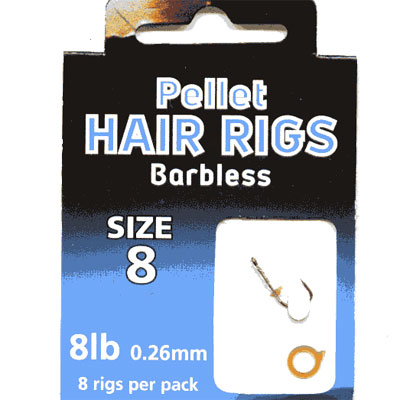 HAIR RIGS PELLET BARBLESS SIZE  8 TO 8lb line PACK of 8 rigs per pack