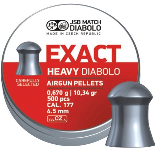 JSB Exact Heavy Pellets 4.52mm .177 Calibre 10.34 grain Tin of 500 x 10 Tins