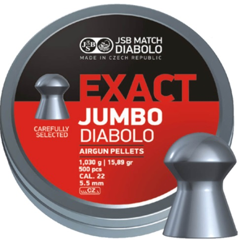 JSB Exact Jumbo Pellets 5.51mm .22 Calibre 15.89 grain Tin of 500