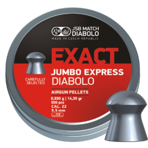 JSB Exact Jumbo Express Pellets 5.52mm .22 Calibre 14.35 grain Tin of 500 x 10 Tins