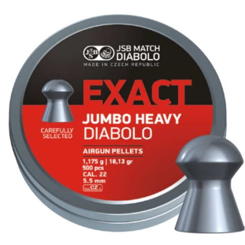 JSB Jumbo Exact Heavy Pellets 5.52mm .22 Calibre 18.13 grain Tin of 500 x 10 Tins