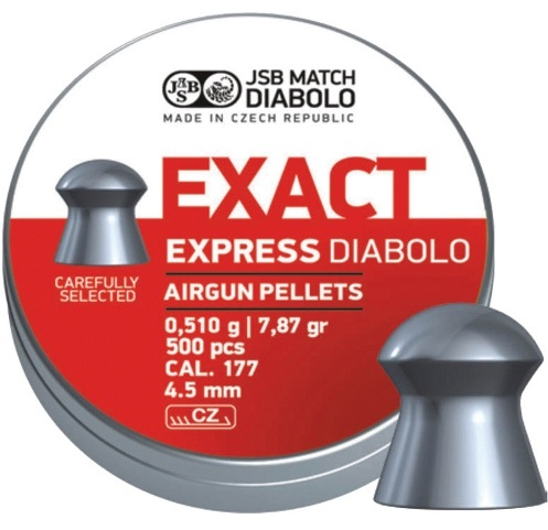 JSB Exact Express Pellets 4.52mm .177 Calibre 7.87 grain Tin of 500 x 10 Tins