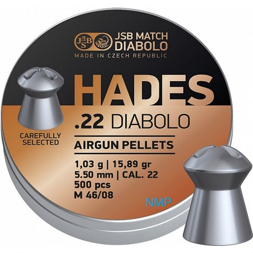 JSB Hades Pellets hollow point head .22 calibre 5.50mm 15.89 Grains tin of 500