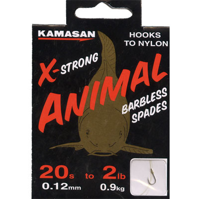 Kamasan Animal X Strong, Barbless Spades - Hooks to Nylon (HEAVY) size 20 hook to 2lb line
