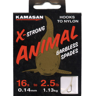 Kamasan Animal X Strong, Barbless Spades - Hooks to Nylon (LIGHT) size 16 hook to 2.5lb line