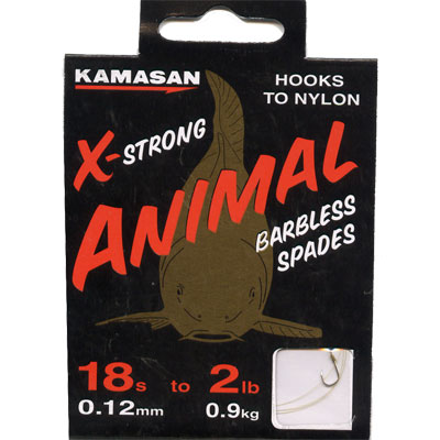 Kamasan Animal X Strong, Barbless Spades - Hooks to Nylon (LIGHT) size 18 hook to 2lb line