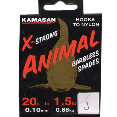 Kamasan Animal X Strong, Barbless Spades - Hooks to Nylon (LIGHT) size 20 hook to 1.5lb line