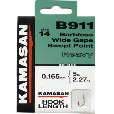Kamasan B911 Hooks To Nylon Barbless wide gape swept point (heavy) Size 14