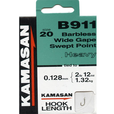 Kamasan B911 Hooks To Nylon Barbless wide gape swept point (heavy) Size 20