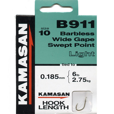 Kamasan B911 Hooks To Nylon Barbless wide gape swept point (light) Size 10