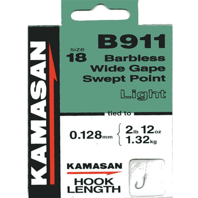 Kamasan B911 Hooks To Nylon Barbless wide gape swept point (light) Size 18