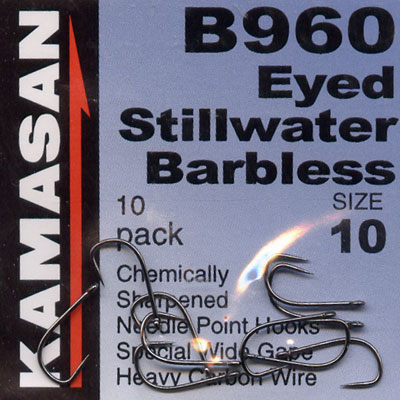 Kamasan B960 Hooks Eyed Stillwater Barbless Hook Size 10