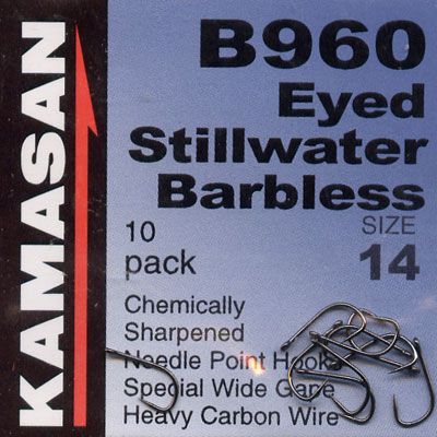 Kamasan B960 Hooks Eyed Stillwater Barbless Hook Size 14