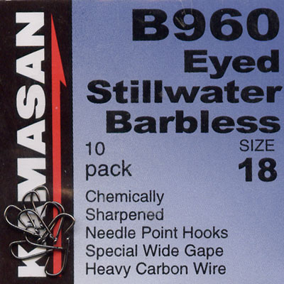 Kamasan B960 Hooks Eyed Stillwater Barbless Hook Size 18