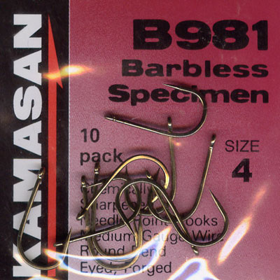 Kamasan B981 Barbless Specimen Hook Size 4