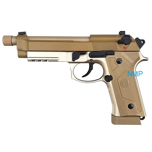 KLI M92 Co2 Blowback Pistol with Compensator and Rail 4.5mm BB Tan