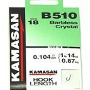 Kamasan B510 Size 16 Hooks To Nylon barbless crystal