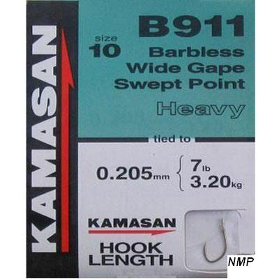 Kamasan B911 Hooks To Nylon Barbless wide gape swept point (heavy) Size 10