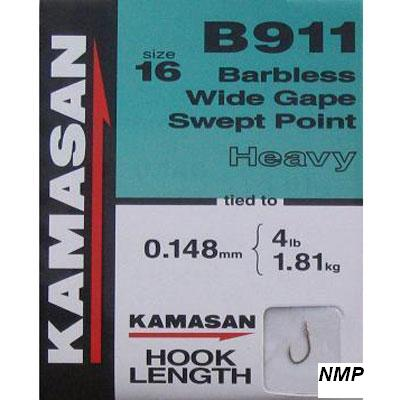 Kamasan B911 Hooks To Nylon Barbless wide gape swept point (heavy) Size 16