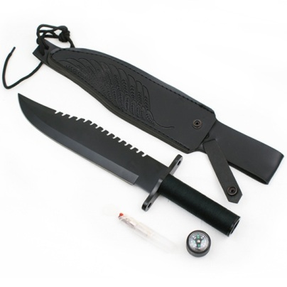15 inch SURVIVAL KNIVE RAMBO STYLE BLACK WITH CASE (29317B)