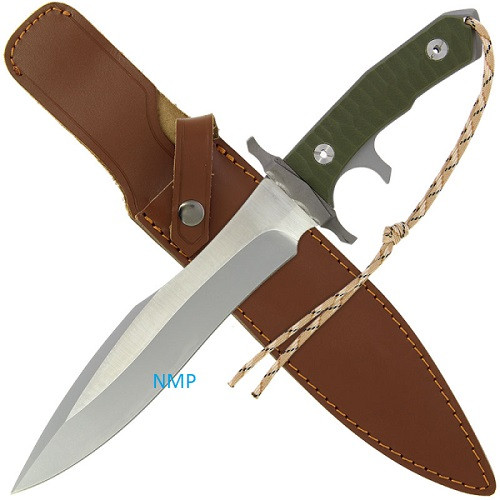 15 inch Last Blood LB2 Carved G10 Handle, 6mm Blade Thickness, Movie Style Knife Supplied with Two-tone Brown Sheath