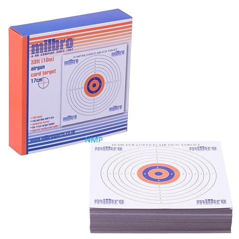 Milbro 10m (33ft) AIR GUN TARGETS Pack of 100 Card Targets 17cm x 20 packs
