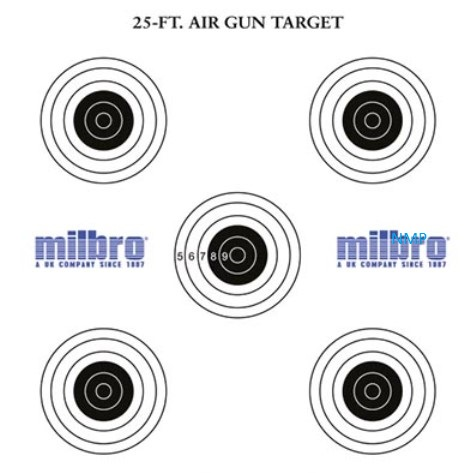 Milbro 25ft AIR GUN TARGETS (5 Bull's eyes targets) Pack of 100 Card Targets 14cm