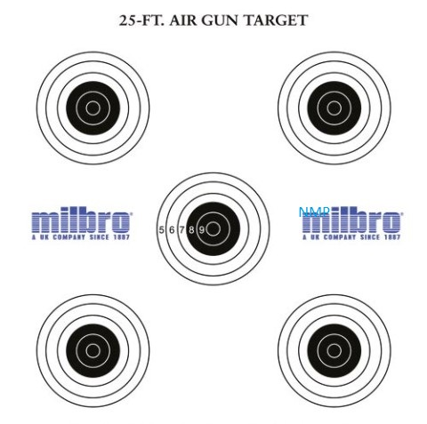 Milbro 25ft AIR GUN TARGETS (5 Bull's eyes targets) Pack of 100 Card Targets 17cm