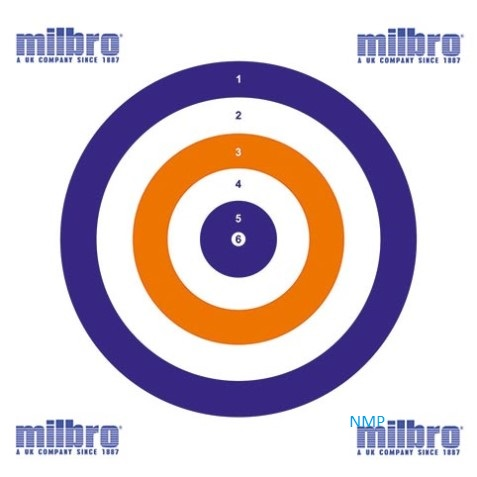 Milbro ALL ROUNDER RED WHITE BLUE AIR GUN TARGETS Pack of 100 Card Targets 17cm