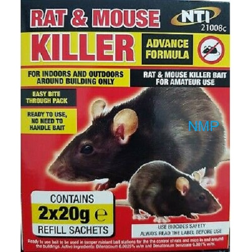 NTI Advanced Formula Rat & Mouse Killer (2 x 20g Refill Sachets)