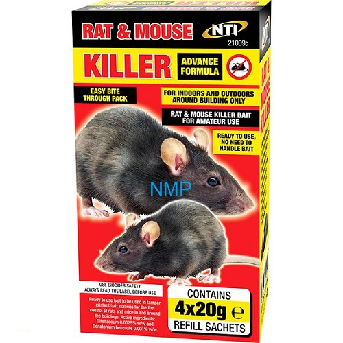 NTI Advanced Formula Rat & Mouse Killer (4 x 20g Refill Sachets)