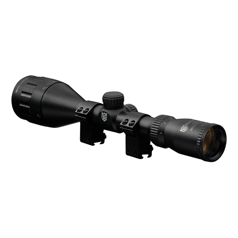 "4-12 x 50 AO Nikko Stirling MountMaster One Inch Tube Half Mil Dot Reticle rifle scopes supplied with 3/8"" dovetail Match mounts with recoil stop"