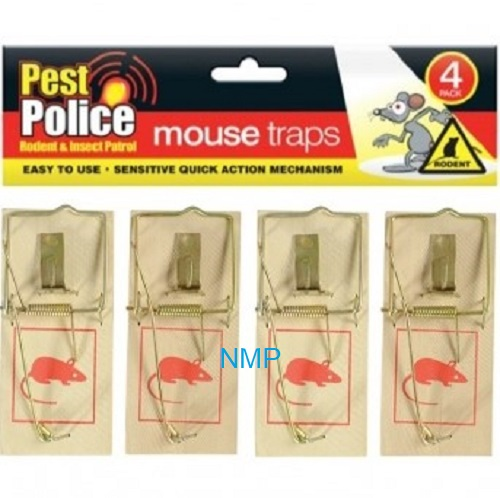 Pest police Mouse traps 4 Pack Wood