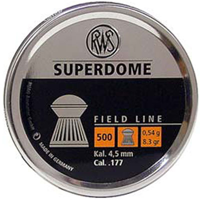 RWS Superdome .177 (4.5mm) 8.3 grain air gun dome head pellets tin of 500 x  5 tins