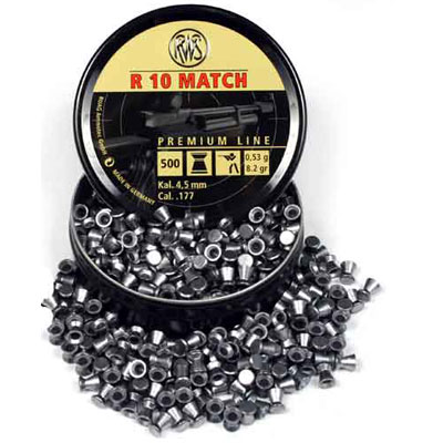 RWS R 10 Match Pellet (heavy) .53gms - 8.2 grain .177 (4.50mm) flat head air rifle pellets,  recommended for air rifles (4.50mm)