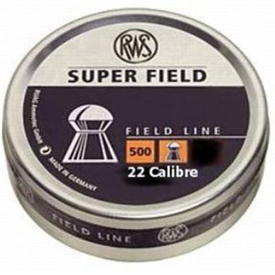 RWS Superfield .22 Cal, 15.9 Grains, Dome shaped (5.52mm) 15.9 gr air gun pellets tin of 500 x  5 tins