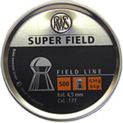 RWS SUPER FIELD .177 (4.51mm) 8.4 grain DOME SHAPED air gun pellet tin of 500 (4.51mm) x  5 tins