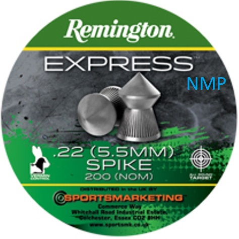 Remington Express Spike Pointed Air Gun Pellets .22 calibre tin of 200 16.4gr x 5 tins