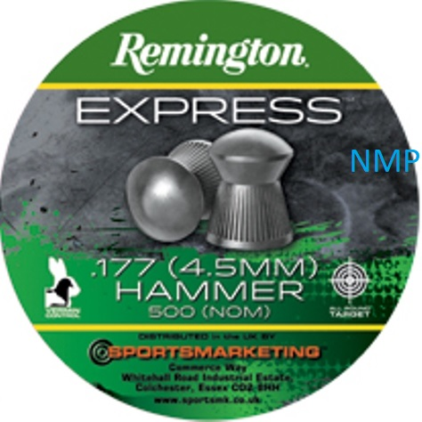 Remington express Hammer Round Head Air Gun Pellets .177 calibre tin of 500 8.1gr x 5 tins