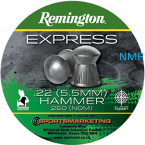 Remington express Hammer Round Head Air Gun Pellets .22 calibre tin of 250 14.8gr x 5 tins