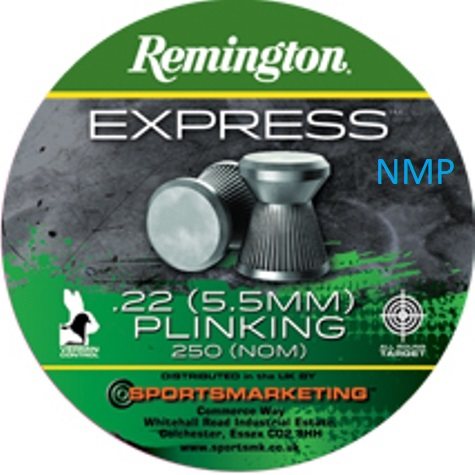 Remington express Plinking Flat Head Air Gun Pellets .22 calibre tin of 250 16.6gr x 5 tins