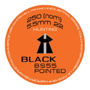SMK BS55 BLACK PELLETS .22 Calibre Pointed Head Hunter Pellet tin of 250 x 20